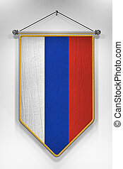 Russia Flag Pennant - Pennant with Russian flag. 3D...