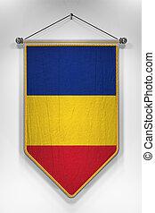 Romania Flag Pennant - Pennant with Romanian flag 3D...