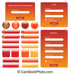 Red and orange web template with buttons and forms.