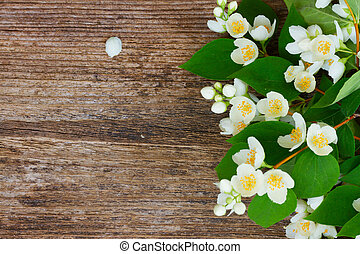Jasmine flowers on wooden table - Jasmine fresh flowers and...