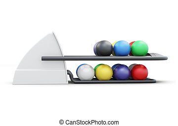 Bowling ball return system side view isolated on a white...