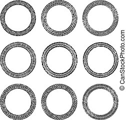 Set of nine round vector frames in tire traces style