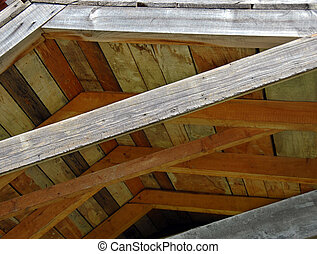 Wooden roof structure - brown wooden roof structure,...
