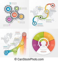 Set of four vector infographic templates. Business,...