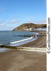 Aberystwyth seaside town North beach in Wales UK.