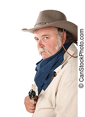 Big cowboy with pistol on white background - Big tough...