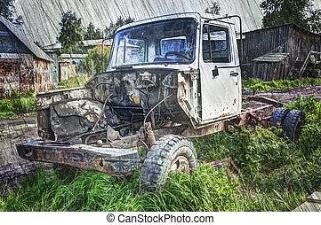 Old broken truck on the farm.