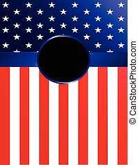 American Flag Banner with Rosette - Brightly-colored...