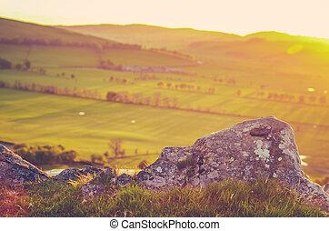Scenic Sunset Scottish Countryside - Retro Style Photo Of...