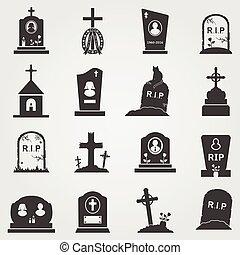 Cemetery crosses and gravestones icons
