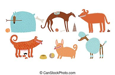Vector dogs set - The vector illustration of various blue...