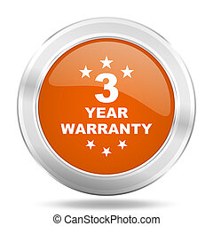 warranty guarantee 3 year orange icon, metallic design...