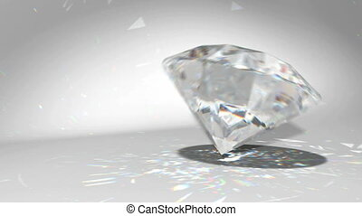 diamond falling and rolling down - Large diamond or gem...