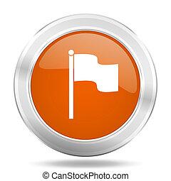 flag orange icon, metallic design internet button, web and...