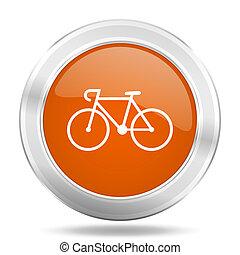 bicycle orange icon, metallic design internet button, web...