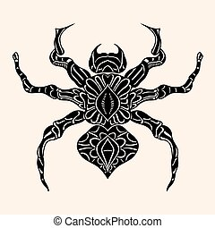 Spider with abstract pattern Vector illustration Hand drawn...