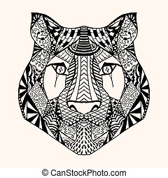 Tiger with abstract pattern