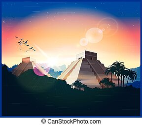 ancient Mayan pyramids - Stylized vector illustration of...