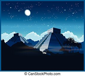 Mayan pyramids at night - Stylized vector illustration of...