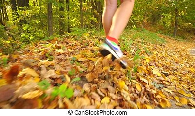 Girl walking along autumn road covered with fallen leaves...