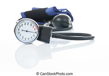 Blood pressure measuring medical equipment on white...
