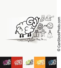 sheep paper sticker with hand drawn elements - hand drawn...