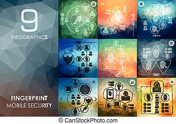 fingerprint infographic with unfocused background -...