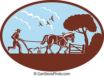 farmer and horse plowing field - illustration of a farmer...