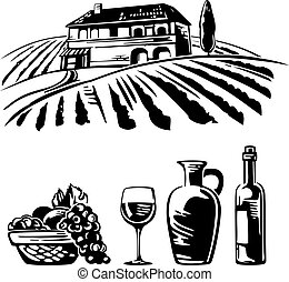 Rural landscape with villa, vineyard fields and hills. Basket with grapes, a bottle wine, a glass and a jug of wine. Black and white vintage vector illustration for wine label, poster, web, icon