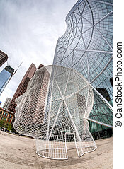 Fisheye View of The Bow at Calgary Downtown - Bow Towel in...