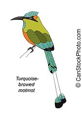 Tropical bird hand draw on a white background - Tropical...
