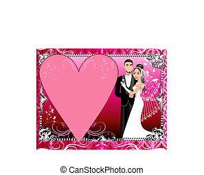 Red Silver Wedding Template - Vector Illustration of a...