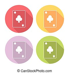 Playing Card Club Suit Flat Icons Set - Playing Card Club...