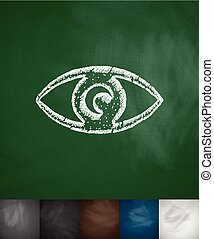eye icon. Hand drawn vector illustration. Chalkboard Design