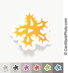 realistic design element. microbe - microbe paper sticker...