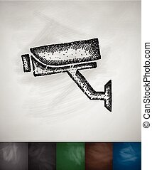 video surveillance icon. Hand drawn vector illustration....