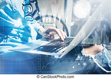 Work process modern Studio Loft.Strategy planner working coworkers office new business startup.Using Digital Connections world wide interfaces.Analyze market stock.Horizontal.Flares.Blurred backgroun