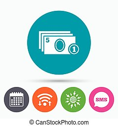 Cash and coin sign icon. Paper money symbol. - Wifi, Sms and...