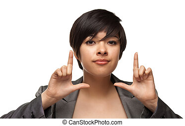Pretty Multiethnic Young Adult Woman Framing Face with Hands