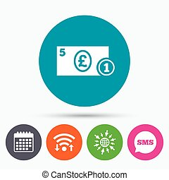 Cash sign icon. Pound Money symbol. Coin. - Wifi, Sms and...