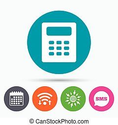 Calculator sign icon Bookkeeping symbol - Wifi, Sms and...