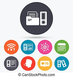 Accounting icons Document storage in folders - Wifi, like...
