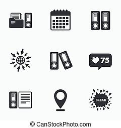 Accounting icons. Document storage in folders. - Calendar,...