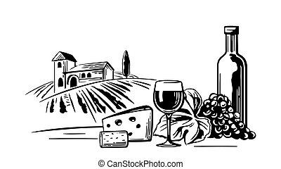 Rural landscape with villa, vineyard fields and hills. Bottle, glass, cork, bunch of grapes, cheese. Black and white vintage vector illustration for label, poster, web, icon.