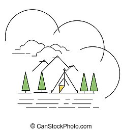 line style illustration landscape mountain with tent on lake camping