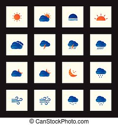 Collection of colorful sketch weather icons vector illustration