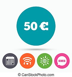 50 Euro sign icon. EUR currency symbol. - Wifi, Sms and...