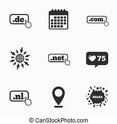 Top-level domains signs De, Com, Net and Nl - Calendar, like...
