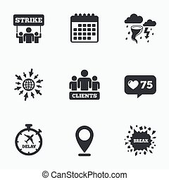 Strike icon Storm weather and group of people - Calendar,...