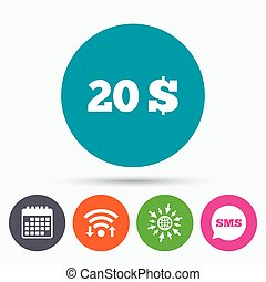 20 Dollars sign icon. USD currency symbol. - Wifi, Sms and...